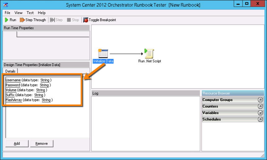Orchestrator RunbookTester InitData