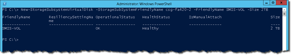 New StorageSubsystemVirtualDisk