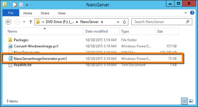 NanoServer ISO FolderView
